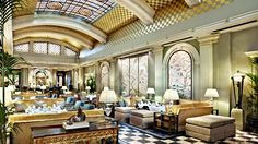 Art Deco Interior Design Project the Palm Court at London's Park Lane Hotel London Hotels, London Restaurants, Tea Lounge, Lounge Design, Hotel Lobby, Art Deco Design, Decoration, House Styles, Afternoon Tea