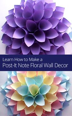 Learn how to make a colorful post-it note flower to hang on your wall! #HomeDecor #DIY
