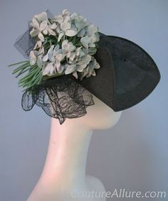 1930s asymmetric hat with lace and floral nosegay from the collection of NY socialite Jeannette Brewer, born 1892.