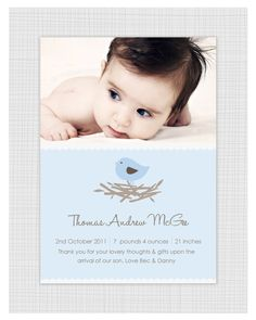 Boys Photo Birth Announcement