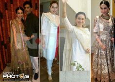 Saif Kareena wedding: Sister Karisma Kapur was seen in earthy shades throughout the wedding celebrations in designer and friend Manish Malhotra's outfits. While for the sangeet, she was seen in a green lehenga, Karisma kept it simple in a white suit during the registration and opted for an ornate white lehenga for the evening.