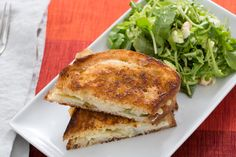 Brie & Pear Grilled Cheese Sandwiches with Brussels Sprout, Arugula & Hazelnut Salad . Visit https://www.blueapron.com/ to receive the ingredients.