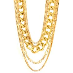Layered Chain Necklace Set (24 CAD) ❤ liked on Polyvore featuring jewelry, necklaces, accessories, set necklace, chain link necklaces, evening jewelry, multi layer chain necklace and cocktail jewelry
