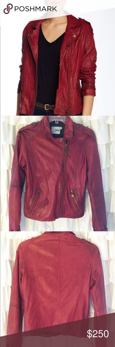 Doma Red (Bordo) Lamb Leather Moto Jacket Gorgeous, supple soft dark red leather (bordeaux) makes this jacket a true standout & sure to get you noticed. Designed by trendy, popular (and celeb fav) Doma, this jacket is crafted with extremely high quality. Features include studded epaulets on shoulders, asymmetrical zipper, 2 front pockets and banded leather cuffs. This jacket is practically new, still has tags & is a steal...u are sure to fall in love (pls note runs small & fits like a…