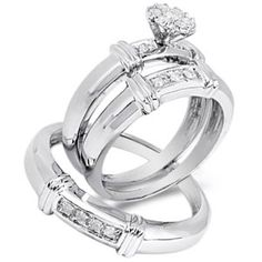 Size 4 - 10K White Gold Diamond Mens and Ladies Couple His & Hers Trio 3 Three Ring Bridal Matching Engagement Wedding Ring Band Set