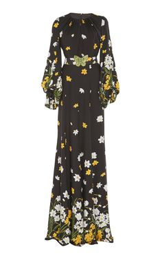 Andrew GN's silk gown is designed with a gardenia print and draped in a floor-sweeping length. Modest Dresses, Simple Dresses, Cute Dresses, Beautiful Dresses, Vintage Dresses, Butterfly Dress, Evening Outfits, Edgy Outfits, Muslim Fashion