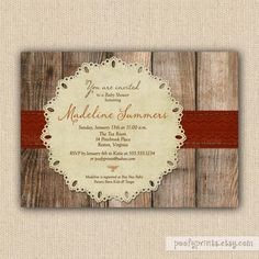 Rustic Fall Baby Shower Invitations - DIY Printable Autumn Shower Invitations - Madeline Collection