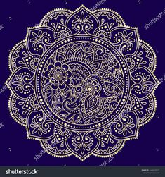 Color circular pattern in form of mandala with flower for decoration or print. Decorative ornament in ethnic oriental style. Gold design on blue background.