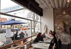 A bright, airy cafe tucked away in the Armadale residential zone. Coin Laundry, Queen Birthday, Cafe Bistro, Long Weekend, My Dream, Melbourne, Coins, Australia, Outdoor Decor