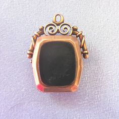 Antique 10k Rose Gold Black Onyx Carnelian Onyx Watch FOB/Pendant