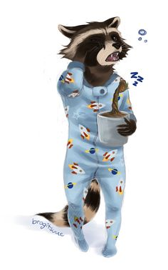 Rocket in footsie pjs with baby groot