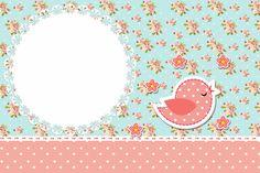 Invitation card Floral Frame and Vintage Pink and Blue: Shabby, Floral Vintage, Bird Party, Paper Birds, Printable Tags, Paper Tags, Party Printables, Paper Design, Scrapbook Paper