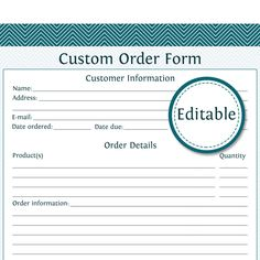 I Heart Crafting Free Custom Order Form Printable  Etsy
