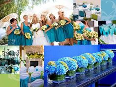 More blue ideas - the blue and green hydrangeas in the clear vases with the leaves wrapped in the vase - very simple and elegant.