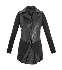 Biker tailcoat by Rag and Bone. This black wool coat has a round-neck, long sleeves, a zipped centre-front fastening and a pleated long tailcoat back with a long centre-hem slit. The slim-fit coat has a leather sleeveless biker jacket overlay with wide lapels, a three-button centre-front fastening and three zipped front pockets. 100% wool. Combo: 100% cow leather. Lining: 50% cotton, 50% bemberg. Lining 2: 100% rayon. Specialist leather clean. #Matchesfashion