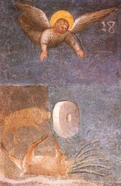 L'angelo che abbatte la bestia con un masso grande come una macina da mulino, una delle scene dell'Apocalisse affrescata da Giusto de' Menabuoi nell'abside  del Battistero di Padova ( 1375-78 ).