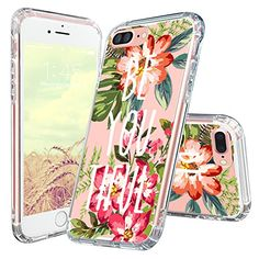 MOSNOVO iPhone 8 Plus Case, iPhone 7 Plus Case, Choose Happy Quotes Pattern Printed Clear Design Transparent Plastic Hard Back Case with TPU Bumper Case Cover for iPhone 7 Plus iPhone 8 Plus Pretty Iphone 7 Cases, Iphone 7 Cover Case, Iphone Cases For Girls, Girly Phone Cases, Iphone 8 Cases, Iphone 8 Plus, Iphone 6, Coque Iphone, Apple Iphone