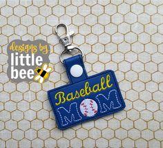 baseball mom sports love fob snap tab keychain applique embroidery digital file design