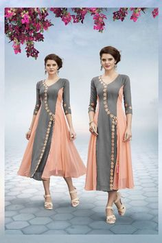 Grey-And-Peach-Double-Color-Fancy-Festive-Wear-Quater-Sleeves-V-Neck-Style-Georgette-Kurthi-In-Factory-Rates-815-14106  Catalog No : 4279  WWW.LKFABKART.COM  #wholesalekurtis #wholesalekurtisupplier #kurtisdealers #kurtiexporters #kurtimanufacturer #kurtistockist #stylish #festivewear #trendy #gorgeous #kurti #worldwide #lkfabkart Ethnic Wear Designer, Indian Designer Outfits, Designer Dresses, Designer Kurtis Patterns, Frock Style Kurti, Fancy Kurti, Kurta Neck Design, Indian Gowns Dresses, Kurti Collection