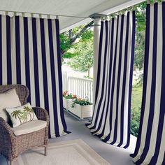 Cheap Elrene Home Fashions Indoor/Outdoor Patio Gazebo Pergola Cabana Stripe Grommet Top Single Panel Window Curtain Drape, 50 Inch Wide X 84 Inch Long, Navy Panel) Indoor Outdoor, Outdoor Living, Outdoor Privacy, Porch Privacy Screen, Outdoor Cabana, Privacy Screens, Indoor Plants, Patio Store, Patio Curtains