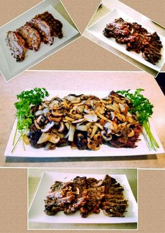 Steak Nite! Grilled New York Strip Steak with Mushroom & Onion----simply made with full of LOVE! Family dinner