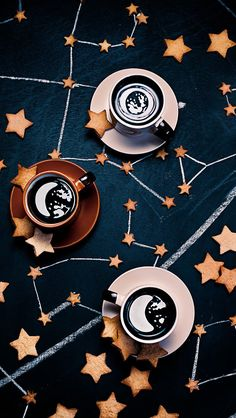 Everything about this!!!! Constellations. Cookies. Coffee.