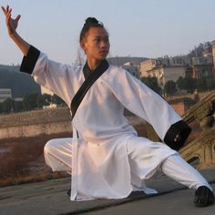 White Taoist School Uniform with Outerlines