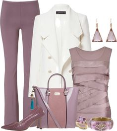 Untitled Spring Outfits, To complete: lavender pumps, white trench ♥. Classy Outfits, Chic Outfits, Pretty Outfits, Fashion Outfits, Fashion Tips, Fashion Design, Summer Outfits, Office Attire, Work Attire