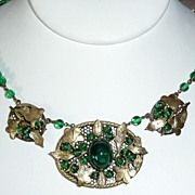 Vintage Wired Green Glass Choker