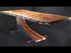 Rigid steel and sculpted wood form an asymmetrical table base for a massive slab of bastogne walnut that appears to almost float. Rustic Wood Furniture, Live Edge Furniture, Tree Furniture, Cool Furniture, Wood Slab Table, Live Edge Wood, Live Edge Table, Live Edge Tisch, Industrial Table Legs