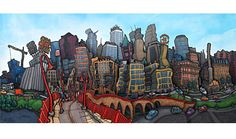 Dtwn Mpls by Michael Birawer - just saw the original at his gallery last night. AMAZING ART!