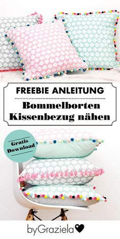 Wie nähe ich einen Bommelborten Kissenbezug? Ganz einfach mit unserer Freebie-Anleitung!