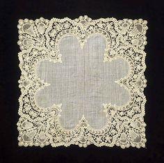 Belgian duchesse lace handkerchief, late 19th century