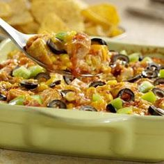 Monterey Chicken Tortilla Casserole Allrecipes.com.  I think I will try this, only leave out the olives.....