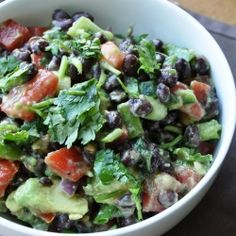 A healthy Avocado & Black Bean Salad I ate before going to the Oprah show!