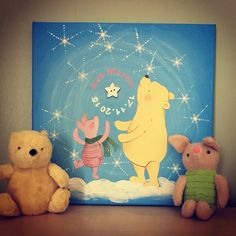 Pooh bear Name Canvas, Canvas Artwork, Wedding Canvas, Pooh Bear, Happy Day, Tweety, Abstract, Painting, Fictional Characters