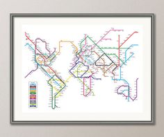 World Map as a Tube Metro Subway System Art Print by artPause, £14.99