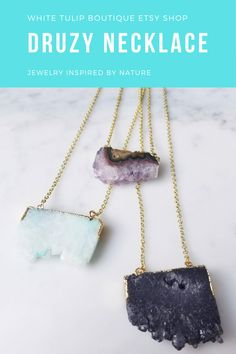 Quartz Necklace | Druzy Necklace | Slice Necklace | Amethyst | Black Agate | Green Agate | Gift | Mother's Day | Free Shipping  #druzynecklace #quartz #necklace #slice #gold #resortwear #mothersdaygift #valentinesday #amethystnecklace #agatenecklace #graduationgift #bohojewelry #bohonecklace
