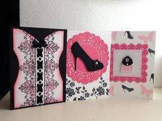 3 Beautiful Stampin Up Other Girly Cards Pink Corset Purse High Heel   eBay