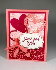 """Meant To Be"" stamp set and framelit bundle produces this Valentine card. Done in Flirty Flamingo and Lovely Lipstick, this is sure to be a hit. Valentine Greeting Cards, Greeting Cards Handmade, Stampin Up, Karten Diy, Valentine's Cards For Kids, Scrapbooking, Stamping Up Cards, Anniversary Cards, Homemade Cards"