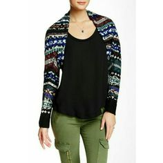 Free People Shrug Knitted shrug with open front and lace on the inside. Long sleeves. NWOT Free People Sweaters Shrugs & Ponchos