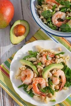Shrimp, Avocado, and Spinach Pasta with Mango Vinaigrette