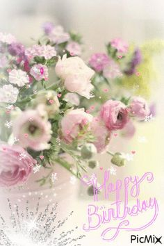 Bilderesultat for happy birthday flowers Happy Birthday Flower, Happy Birthday Images, Happy Birthday Greetings, Birthday Messages, Birthday Quotes, Short Happy Birthday Wishes, Birthday Fun, Birthday Cake, Deco Floral