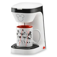 Mickey Mouse Anniversary Single Serve Coffee Maker includes 12 oz mug. Great for small kitchens, offices or dorms. Mickey Mouse House, Mickey Mouse Kitchen, Mickey Mouse Images, Mini Mickey, Mickey Y Minnie, Disney Mickey Mouse, Disney Dishes, Disney Cups, Disney Kitchen Decor