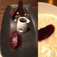 Chocolate dessert and super creamy rice pud @dineedinburgh - officially full!