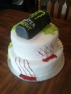 Tall Order- Monster Energy Drink Meets Zombies- Jolly Rancher Flavored tiers, Monster Energy Flavored Can.  15th Birthday Cake