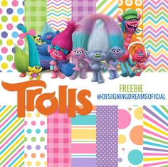 KIT DIGITAL TROLLS PAPEIS + PERSONAGENS+FONTE+FUNDO PARA MONTAGENS - Cantinho do blog