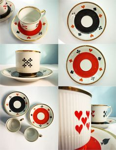 Set of 2 coffee tea cups poker bridge playing cards signs red black white. €28,00, via Etsy.