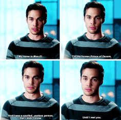 """My name is Mon-El. I'm the former Prince of Daxam. I was a spoiled, useless person that I didn't know, until I met you"" - Mon-El Dc Tv Shows, The Cw Shows, Supergirl Superman, Supergirl And Flash, Kara And Mon El, Superhero Shows, Hero Quotes, Cw Dc, Chris Wood"