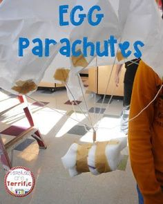 Egg Parachutes in STEM class! Can students build the container and the parachute and safely drop the egg?